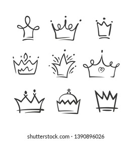 Graphic modernist element drawn by hand. royal crown of gold set. Isolated on white background. Vector illustration. Logotype, logo