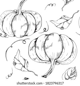 Graphic monochrome seamless pattern pumpkin and leaves