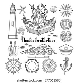 Graphic nautical collection drawn in line art style. Marine vector elements isolated on white background. Ocean decorations. Coloring book page design for adults and kids