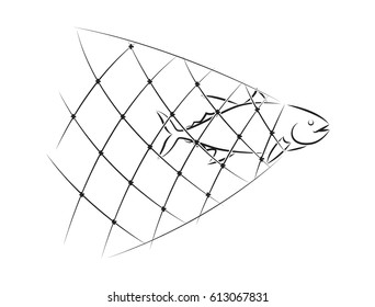 graphic net fishing, vector