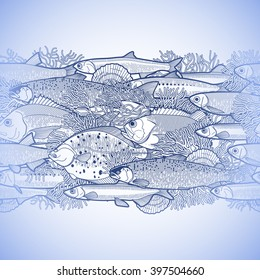 Graphic ocean fish drawn in line art style. Sea creatures for seafood menu design. Vector seamless border