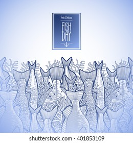 Graphic ocean fish drawn in line art style. Endless vector border. Sea creatures for seafood menu design