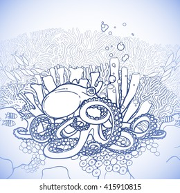 Graphic Octopus And Coral Reef Drawn In Line Art Style Ocean Vector Illustration Blue