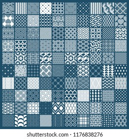 Graphic ornamental tiles collection, set of monochrome vector repeated patterns. Vintage art abstract textures can be used as wallpapers.