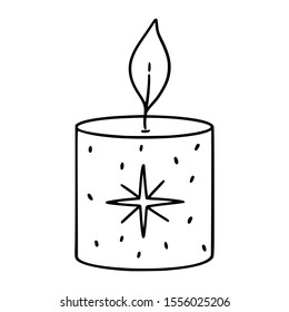 Graphic outline clip art doode illustration of a cute cozy relaxing candle with a beautiful smell aand aroma.