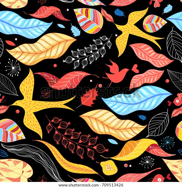 Graphic pattern of birds autumn colored leaves