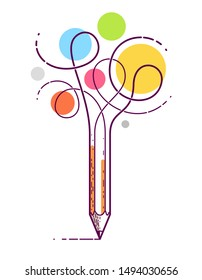 Graphic pencil with curly lines symbolizes creativity, vector logo illustration.