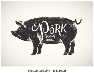 Graphic pig, pork label drawn by hand.