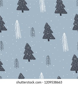 Graphic pines and snow seamless pattern. Christmas wrapping paper design template.