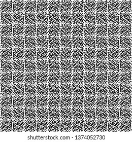 Graphic plaid pattern with a flecked texture. Towel. Monochrome. Fuzzy grid background. Vector illustration.