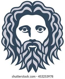 graphic portrait of the ancient greek god Zeus