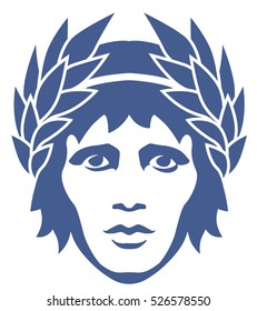 graphic portrait of the ancient Greek god Apollo in the laurel wreath