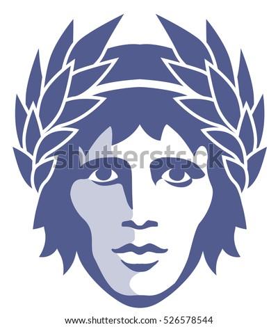 Graphic Portrait Ancient Greek God Apollo Stock Vector Royalty Free