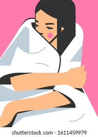 Graphic portrait of a girl wrapped in a cozy rug. Young woman enjoys the comfort. Vector illustration in geometric style.