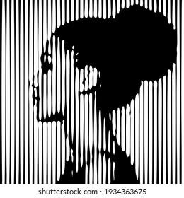 Grafisches Portrait von jungen schönen afrikanischen Amerikanerin in Profil macht aus schwarz-weiß Linien. Moderner abstrakter geometrischer Stil ist sehr nützlich für die Wandgestaltung, Landungsseite, Website, b