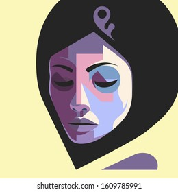 Graphic portrait of a young pretty muslim brunette woman in hijab. Cubism geometric style. Vector illustration.