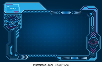 Graphic presentation asymmetric computer panel, frame, display with control technology. vector illustration
