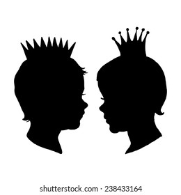 Graphic Prince and Princess. Retro little boy and girl with crown silhouette isolated on white background. Hand drawn vector illustration.