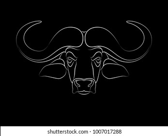 Graphic print of African buffalo outline. Black background.