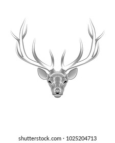 Graphic print of stylized deer on white background. linear drawing.