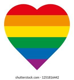Graphic rainbow heart icon vector illustration.