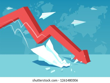 Graphic red arrow representing fast decrease and crisis on global level