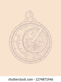 Graphic representation of the astrolabe. Jewelry work. Art of Arab masters. Navigation device.