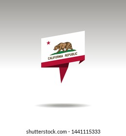 graphic representation of the location designation in the origami style with a flag California on a gray background