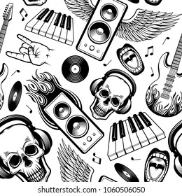graphic rock music attributes seamless pattern. Alternative, metal hard rock or instrumental music element. Electric guitar, skull in headphones, piano keyboard, rock gesture, vinyl record loudspeaker