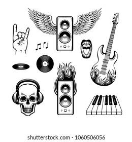 graphic rock music attributes symbols icon set. Alternative, metal hard rock or instrumental music element. Electric guitar, skull in headphones, piano keyboard, rock gesture, vinyl record loudspeaker