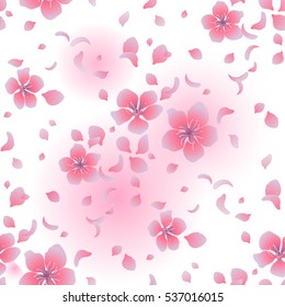 Graphic sakura flowers. Traditional symbol of spring in Japan. Vector seamless pattern