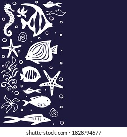 Graphic sea pattern with cartoon white fishes on a blue background with space for text. Vector illustration.