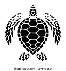 graphic sea turtle swimming, vector - Shutterstock ID 1896995524