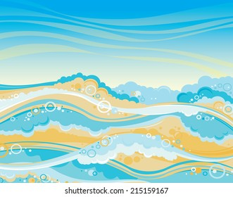 Graphic sea with waves and blue sky. Seascape vector illustration.