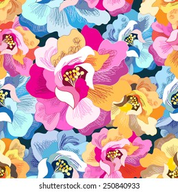 Graphic seamless floral pattern bright