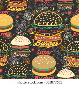 Graphic seamless pattern bright tasty burgers on a dark background