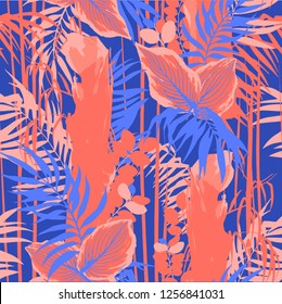 Graphic seamless pattern of exotic leaves and trees. Vector tropical design