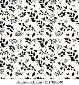 Graphic seamless pattern with a flower ornament. Black silhouette on white background. Monochrome. Vector illustration.