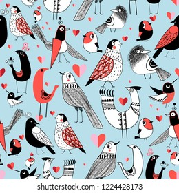 Graphic seamless pattern of funny pictures of birds on a light background.
