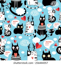 Graphic seamless pattern with hearts in love cats