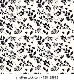Graphic seamless pattern with the image of black and white branches and flowers. Vector illustration.