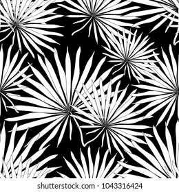 graphic seamless pattern  natural tropical palm leaves  vector illustration