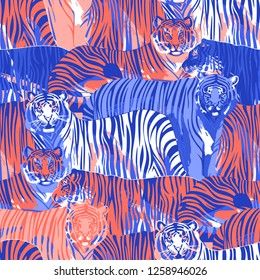 Graphic seamless pattern of standing and walking tigers. Vector trendy design