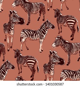 Graphic seamless pattern of standing zebras drawn in the technique of rough brush in calm colors