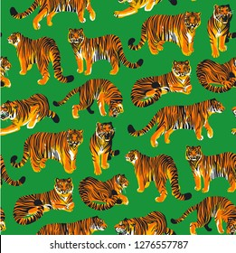 Graphic seamless pattern of tigers in different poses. Vector trendy design