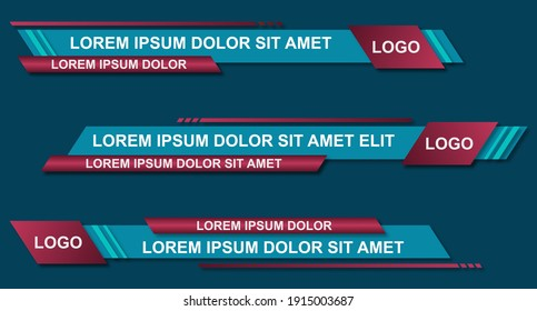 Graphic set of Broadcast News Lower Thirds Banner for Television. Modern stylish lower third banner template design. Vector video headline title. Vector illustrator