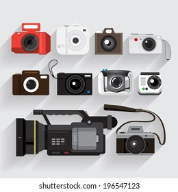 Graphic Set camera and video recorder vector  style.