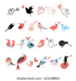 graphic set of different birds on white background