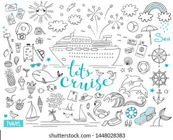 Graphic set of elements. Journey on a cruise ship. Vector illustration on the theme of sea travel.
