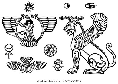 Graphic set: figures of the Assyrian mythology - winged god and a lion a sphinx. Space symbols. Monochrome drawing isolated on a white background. Vector illustration. Be used for coloring book.